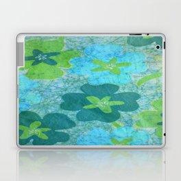Floral batik in blues and greens Laptop & iPad Skin