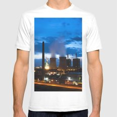 Industry landscape blue hour White Mens Fitted Tee MEDIUM