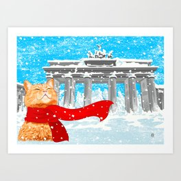 Berlin Snowcat Art Print