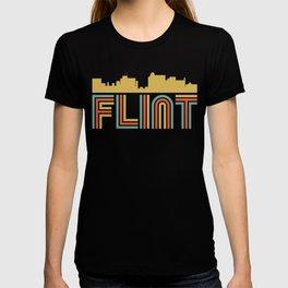 Vintage Style Flint Michigan Skyline T-shirt