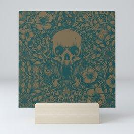 Blue Skull in jungle Mini Art Print