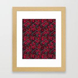 Bright red flowers on black. Framed Art Print