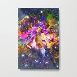 space universe unicorn Metal Print