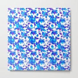 Blue mystic rustic flowers Metal Print