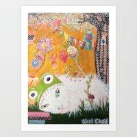 Cat in the garden Art Print