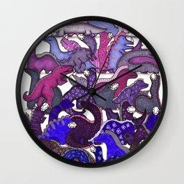 Purple Dinosaur Gradient Wall Clock