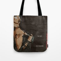 rocky horror Tote Bags featuring Rocky Horror Picture Show by JAGraphic