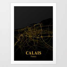 Calais - France Gold City Map Art Print