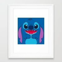 stitch Framed Art Prints featuring stitch by customgift
