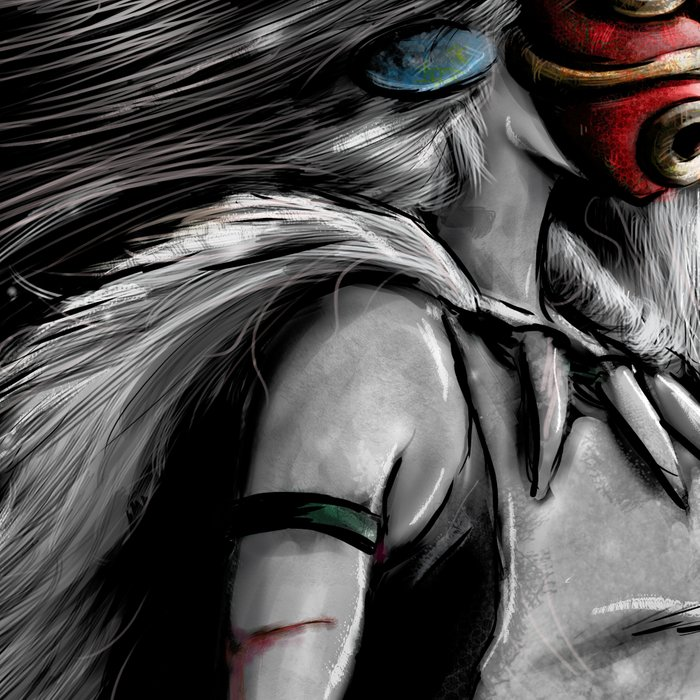 Miyazaki's Mononoke Hime Digital Painting the Wolf Princess Warrior Color Variation Leggings