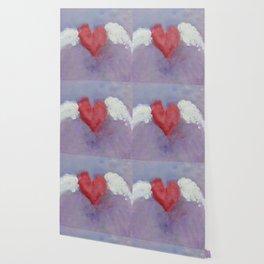 flying heart encaustic Wallpaper