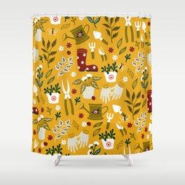 Gardening Seamless Pattern with Flowerpot, Garden Gloves and Secateurs and etc.  Shower Curtain