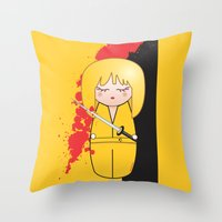 kill bill Throw Pillows featuring Kokeshi Beatrix of Kill Bill by Pendientera