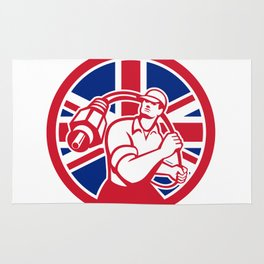 British Cable Installer Union Jack Flag Icon Rug