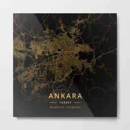 Ankara, Turkey - Gold Metal Print