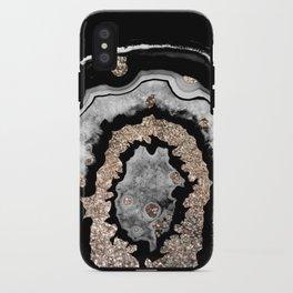 Gray Black White Agate with Gold Glitter on Black #1 #gem #decor #art #society6 iPhone Case