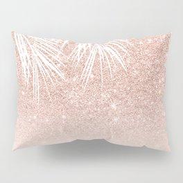 Modern tropical palm tree rose gold glitter ombre blush pink gradient Pillow Sham