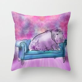 animals in chairs #9 variations on a theme Hippo Throw Pillow