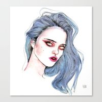 sky ferreira Canvas Prints featuring Sky Ferreira /  Blue  by Lucas David