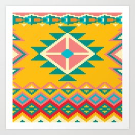 Yellow Native Aztec Art Print