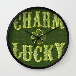 Shamrock CHARM LUCKY St. Patrick's Day Wall Clock