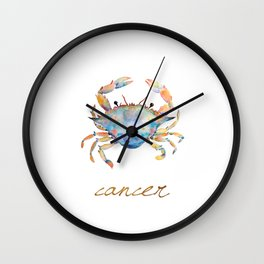 Watercolor Cancer Crab Wall Clock