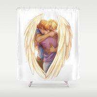 hug Shower Curtains featuring Hug by laya rose