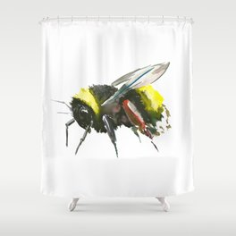 Bumblebee, minimalist bee honey making art, design black yellow Shower Curtain