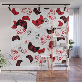 Video Game White and Red Wall Mural