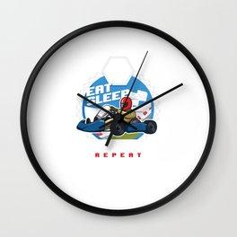 Eat Sleep Go Kart Repeat Karting Motorsport Flat Track Road Racing Racer Gifts Wall Clock