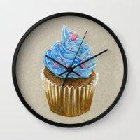 "cupcake Wall Clocks featuring ""Cupcake"" by Allana Vazquez"