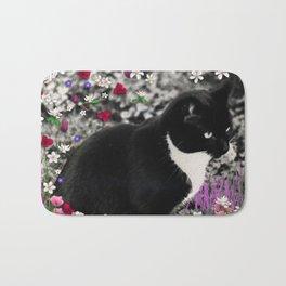 Freckles in Flowers II - Tuxedo Kitty Cat Bath Mat
