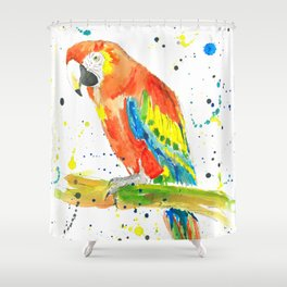 Parrot (Scarlet Macaw) - Watercolor Painting Print Shower Curtain