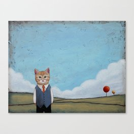 Cat in a Field anthropomorphic Canvas Print