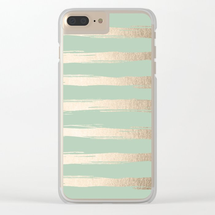 Simply Brushed Stripes White Gold Sands on Pastel Cactus Green Clear iPhone Case