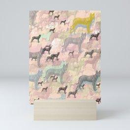 Sky Dogs - Abstract Geometric pink mauve mint grey orange Mini Art Print