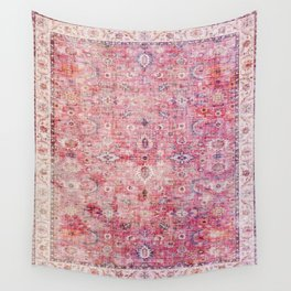 N45 - Pink Vintage Traditional Moroccan Boho & Farmhouse Style Artwork. Wall Tapestry
