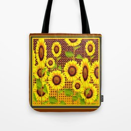COFFEE BROWN SUNFLOWERS CABIN ART Tote Bag