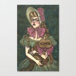 Grumpy Girl and Cat Canvas Print
