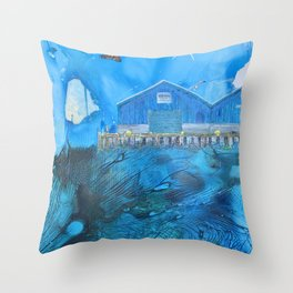 NYC East River Waterway Environment Throw Pillow