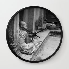 Contemplation in Black + White, Monk at Angkor Wat, Siem Reap, Cambodia Wall Clock