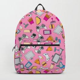 Gaming Fast food Pink Gamer Girl Pattern Backpack