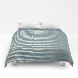 Abstract Stripes Gold Tropical Ocean Blue Comforters