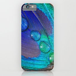 Peacock feather & water droplets iPhone Case