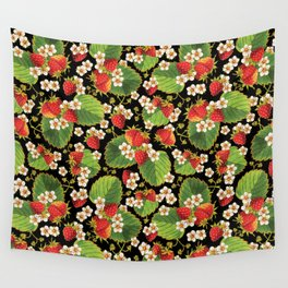 Strawberries Botanical Wall Tapestry