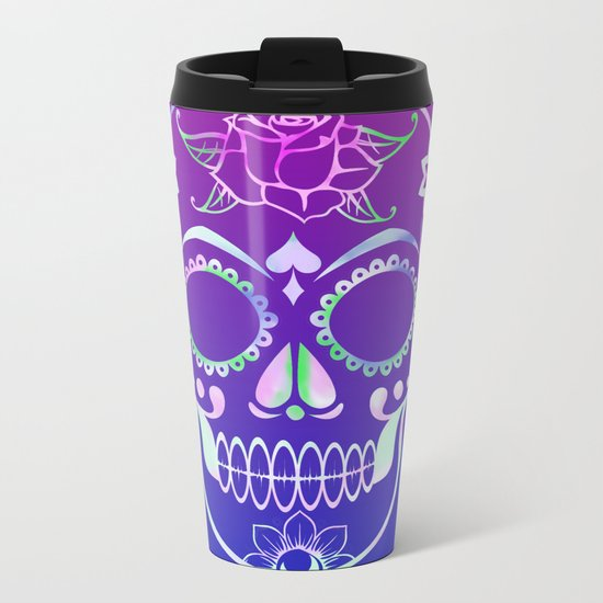 Love Skull (violette gradient) Metal Travel Mug