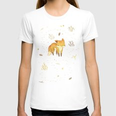 Lonely Winter Fox SMALL Womens Fitted Tee White
