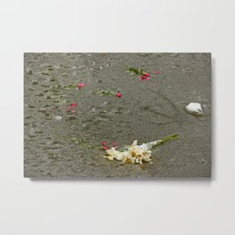 Flowers in a frozen pond Metal Print