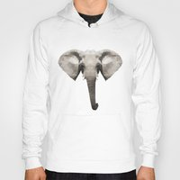 low poly Hoodies featuring Low Poly Elephant Illustration by Caeli