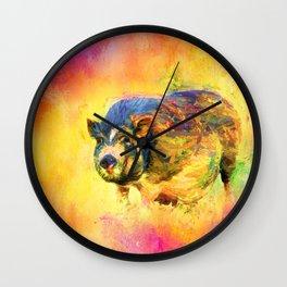 Jazzy Pig Colorful Animal Art by Jai Johnson Wall Clock